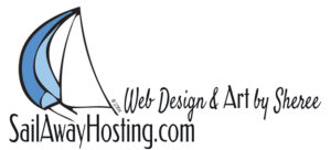 sailawayhosting.com and web desin and art by sheree logo - image